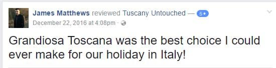 Some of our Reviews from tours in Tuscany